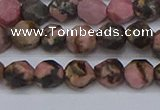 CNG6252 15.5 inches 6mm faceted nuggets rhodonite beads
