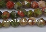 CNG6254 15.5 inches 6mm faceted nuggets unakite beads wholesale