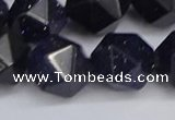 CNG6297 15.5 inches 14mm faceted nuggets blue goldstone beads