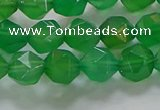 CNG6513 15.5 inches 8mm faceted nuggets green agate beads