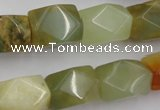 CNG652 15.5 inches 13*18mm faceted nuggets flower jade beads