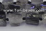 CNG6821 15.5 inches 5*8mm - 8*12mm nuggets black rutilated quartz beads