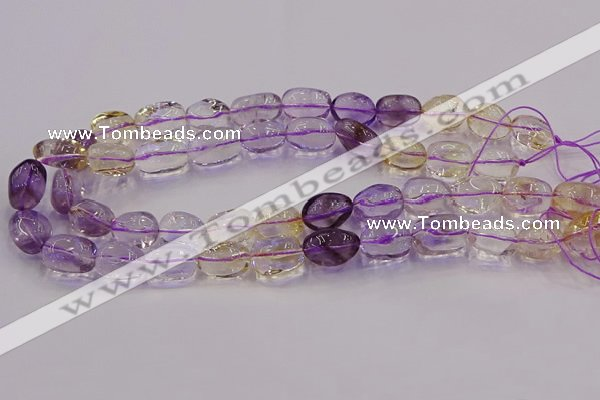 CNG6860 15.5 inches 12*16mm - 13*18mm nuggets amethyst & citrine beads