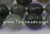 CNG6871 8*12mm - 10*14mm nuggets green rutilated quartz beads