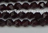 CNG7275 15.5 inches 6mm faceted nuggets red garnet beads