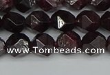 CNG7276 15.5 inches 8mm faceted nuggets red garnet beads