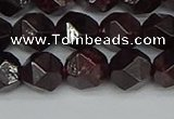 CNG7277 15.5 inches 10mm faceted nuggets red garnet beads