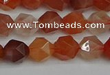 CNG7281 15.5 inches 8mm faceted nuggets red rabbit hair quartz beads