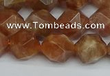 CNG7297 15.5 inches 10mm faceted nuggets sunstone beads