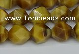 CNG7307 15.5 inches 10mm faceted nuggets golden tiger eye beads