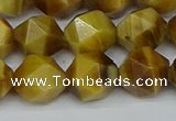 CNG7308 15.5 inches 12mm faceted nuggets golden tiger eye beads