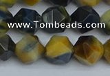 CNG7313 15.5 inches 12mm faceted nuggets golden & blue tiger eye beads