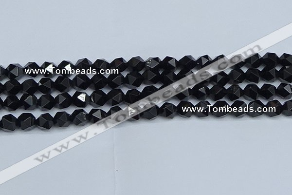 CNG7352 15.5 inches 10mm faceted nuggets Black agate beads