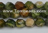 CNG7395 15.5 inches 6mm faceted nuggets rhyolite gemstone beads
