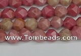CNG7420 15.5 inches 6mm faceted nuggets rhodochrosite beads