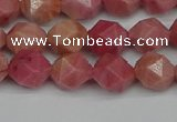 CNG7421 15.5 inches 8mm faceted nuggets rhodochrosite beads