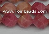 CNG7423 15.5 inches 12mm faceted nuggets rhodochrosite beads
