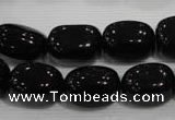 CNG749 15.5 inches 13*18mm nuggets black agate beads wholesale