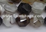 CNG7502 15.5 inches 8mm faceted nuggets line agate beads