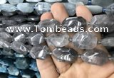 CNG7805 13*18mm - 18*25mm faceted freeform cloudy quartz beads