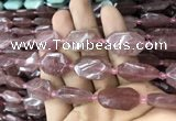 CNG7808 13*18mm - 18*25mm faceted freeform strawberry quartz beads