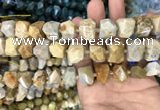 CNG7844 12*16mm - 15*20mm faceted nuggets fossil coral beads