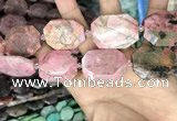 CNG7909 22*30mm - 25*35mm faceted freeform rhodochrosite beads