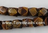 CNG826 15.5 inches 9*12mm faceted nuggets yellow tiger eye beads