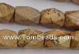 CNG842 15.5 inches 13*18mm faceted nuggets picture jasper beads