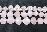 CNG8672 12*20mm - 20*33mm faceted nuggets rose quartz beads