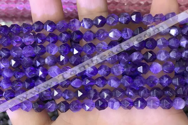 CNG8700 15.5 inches 6mm faceted nuggets amethyst gemstone beads