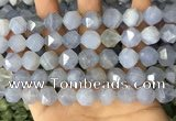 CNG8708 15.5 inches 12mm faceted nuggets blue chalcedony beads