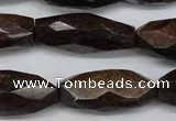 CNG882 15.5 inches 14*32mm faceted rice bronzite nugget beads