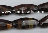 CNG883 15.5 inches 13*28mm faceted rice tiger iron nugget beads