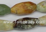 CNG884 15.5 inches 14*32mm faceted rice gemstone nugget beads