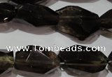 CNG904 15.5 inches 10*14mm � 14*25mm faceted nuggets smoky quartz beads