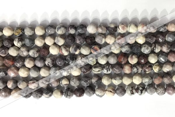 CNG9094 15.5 inches 6mm faceted nuggets purple striped jasper beads