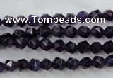CNG927 15 inches 6mm faceted nuggets amethyst gemstone beads