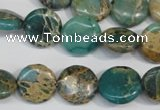CNI30 15.5 inches 14mm flat round natural imperial jasper beads