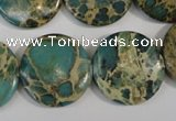 CNI32 15.5 inches 22mm flat round natural imperial jasper beads