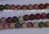 CNI360 15.5 inches 4mm round matte imperial jasper beads wholesale