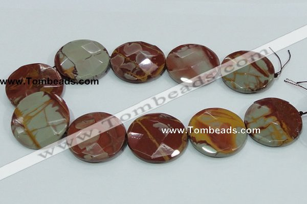CNJ02 15.5 inches 40mm faceted coin natural noreena jasper beads