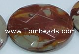 CNJ03 15.5 inches 50mm faceted coin natural noreena jasper beads