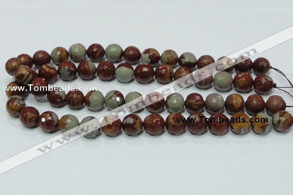 CNJ18 15.5 inches 14mm faceted round natural noreena jasper beads