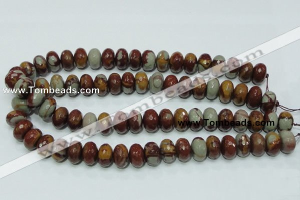 CNJ24 15.5 inches 10*16mm faceted rondelle natural noreena jasper beads