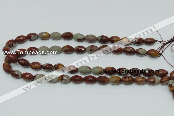 CNJ28 15.5 inches 10*14mm faceted rice natural noreena jasper beads