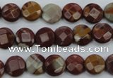 CNJ41 15.5 inches 10mm faceted coin noreena jasper beads