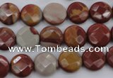 CNJ42 15.5 inches 12mm faceted coin noreena jasper beads