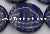 CNL1114 15.5 inches 40mm flat round lapis lazuli gemstone beads