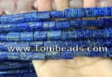 CNL1682 15.5 inches 10*13mm - 10*15mm carved flat tube lapis lazuli beads